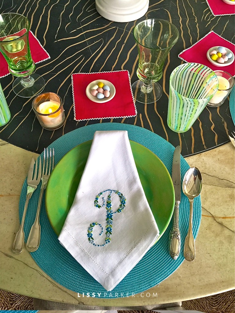 Monogrammed napkins from JulieB