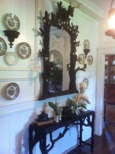 Mirror and plates on the wall