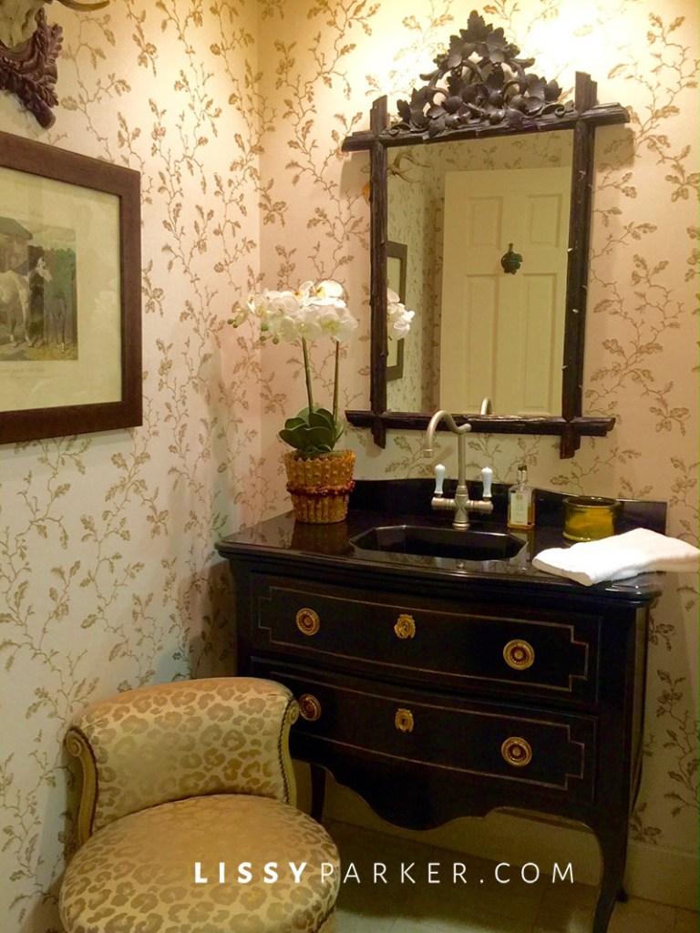 guest bathroom rustic mirror