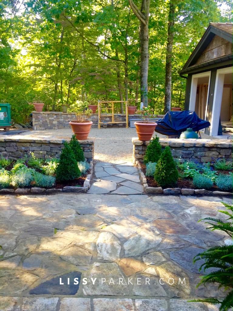 entry garden stone wall