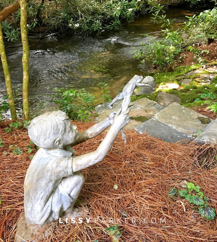 boy and frog statue