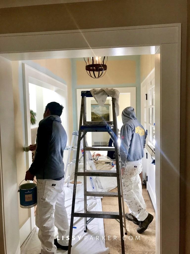 aqua paint in the hall