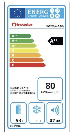 Eficiencia energética de la mini nevera Inventor 93L