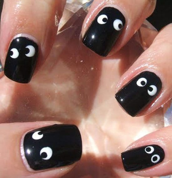 These Adorable Eyes Will Take You Less Than 10 Minutes To Perfect Paint Your Nails Black Put White Dots With The Head Of A Pin And Then Draw Eye