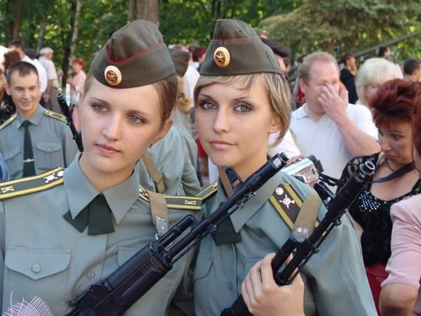 Russian Beautiful Female Armed Force