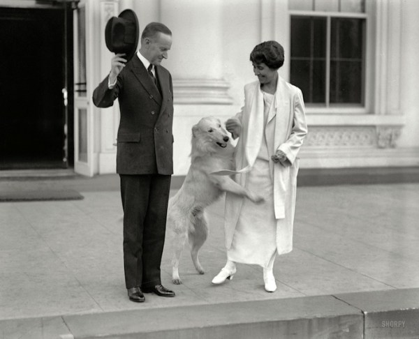 Presidential dogs:Calvin and Grace Coolidge with dog