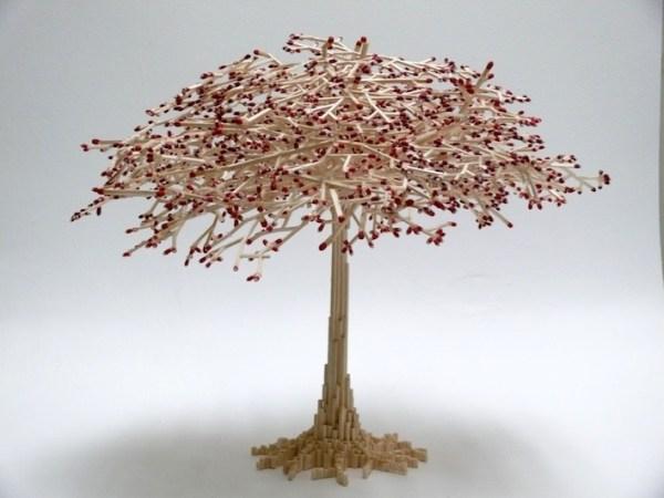 20 Stunning Matchstick Art: Matchstick cherrytree