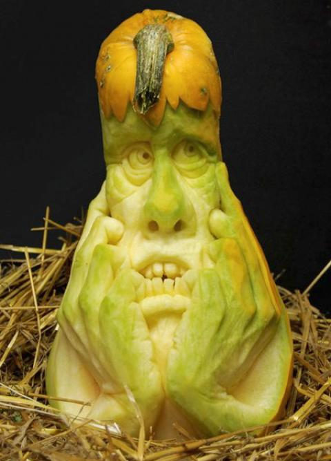 scared carved pumpkin