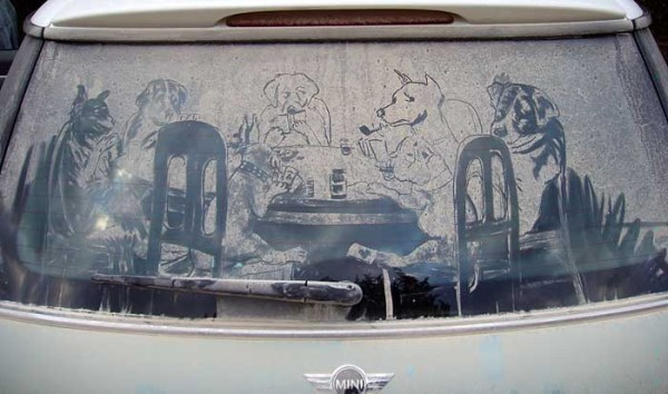 Dogs Playing poker on dirty car window