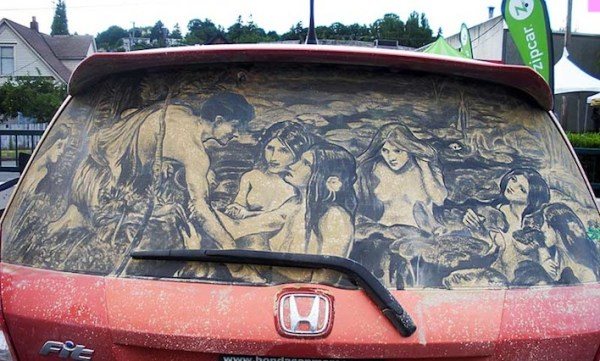 Hylas and the Nymphs drawn on dirty car