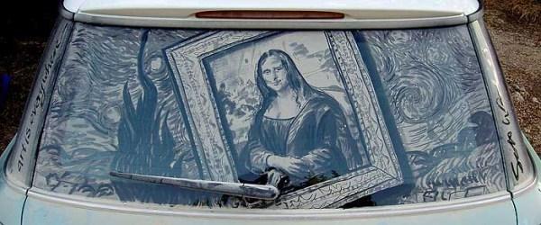 Mona Lisa dirty car window art