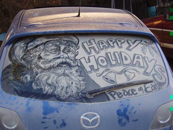 Santa Claus on dirty car window art