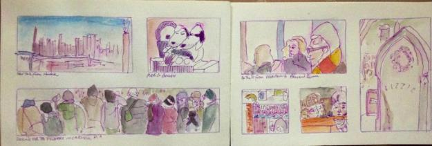 Pen and wash drawings made on a train trip around the United States