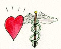 drawing of heart and caduceus