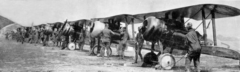 World War 1 biplanes lined up at the Layfayette Escadrille