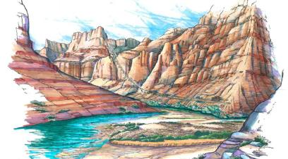 Artist's rendering of proposed ride across the face of the Grand Canyon from the top to the canyon floor