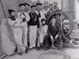 "Captain Joshua Slocum poses with the crew of  ""The Destroyer"""