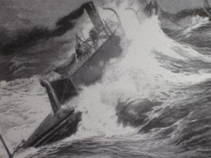 """""""The Destroyer"""" toed through rough seas"""