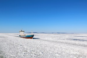 Arctic ship on route
