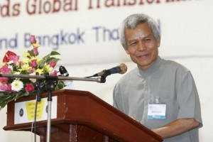 Sombath Somphone speaking at a conference. He has not been seen for over 2 years.