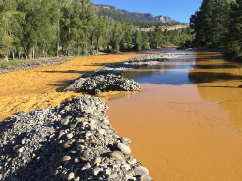 The Animus River near Durango Colorado, polluted by an accident at the Gold King Mne