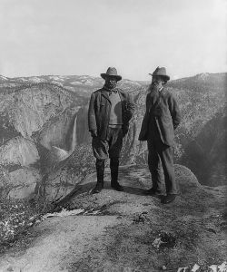 Theodore Roosevelt (on left) being shown Yosemite Valley by John Muir, founder of the Sierra Club