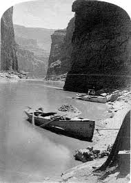 Whithall design boat beached on the Colorado
