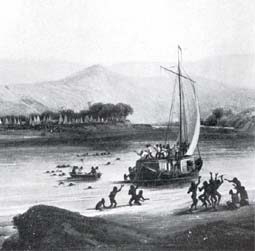 Keelboat on the Mississippi used for shipping goods in 1802