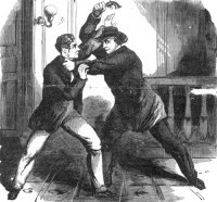Fight between Lewis Powell, the would be assassin lof Seward and Seward's so Frederick from newspaper illustration