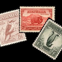 Image of 3 Australian stamps issued in the early 1930s, witha kookaburra, sheep and lyrebird.