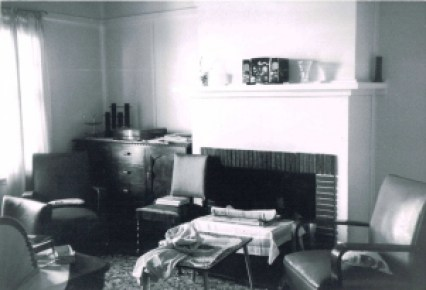 Lounge room inside a cottage, 1960s.
