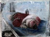Kriegskind - Öl, Collage auf Lwd, 13x18cm, 2014 Kopie