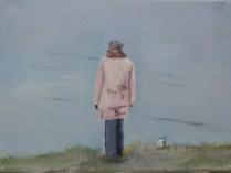 Nicole am Meer - Öl auf Leinwand, 18x24cm, 2015 von R.F. Myller