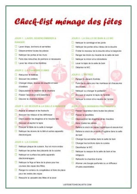 Un Planning De Menage En 7 Jours Pour Se Preparer Aux Fetes Check List A Imprimer Listes Check Lists