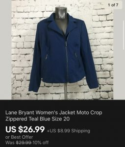 Lane Bryant Jacket Sold On eBay