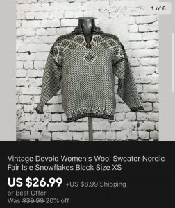Vintage Devold Sweater Sold On eBay