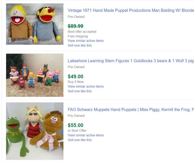 Puppets Sold For Money
