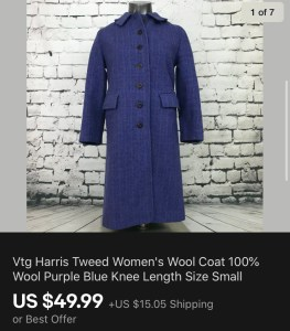 Vintage Harris Tweed Coat Sold On eBay