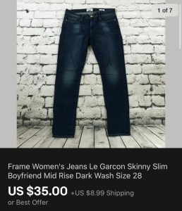 Frame Women's Jeans Sold On eBay