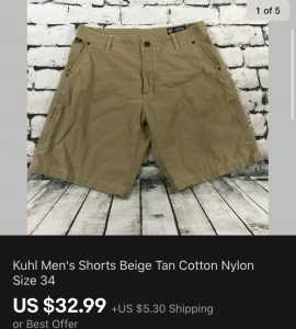 Kuhl Shorts Sold On eBay