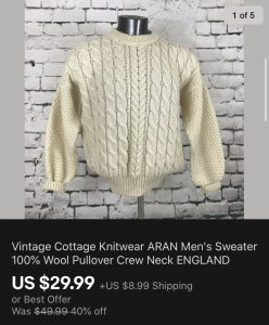 Vintage Men's Sweater Sold On eBay