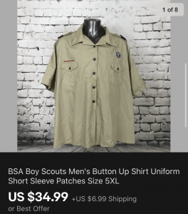Boy Scouts Mens Uniform Shirt Sold On eBay