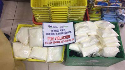 Ministerio de Salud retiene 9 toneladas de leche en polvo que se vendía a granel