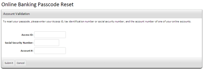 AnchorBank Passcode Reset