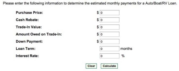 mtb auto loan calculator