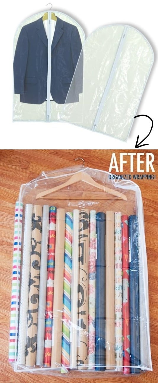 DIY Wrapping paper rolls storage idea -- A ton of easy and cheap organization and storage ideas for the home (car too!). A lot of these are really clever storage solutions for small spaces, bedrooms, bathrooms, closets, kitchens and apartments. | Listotic.com