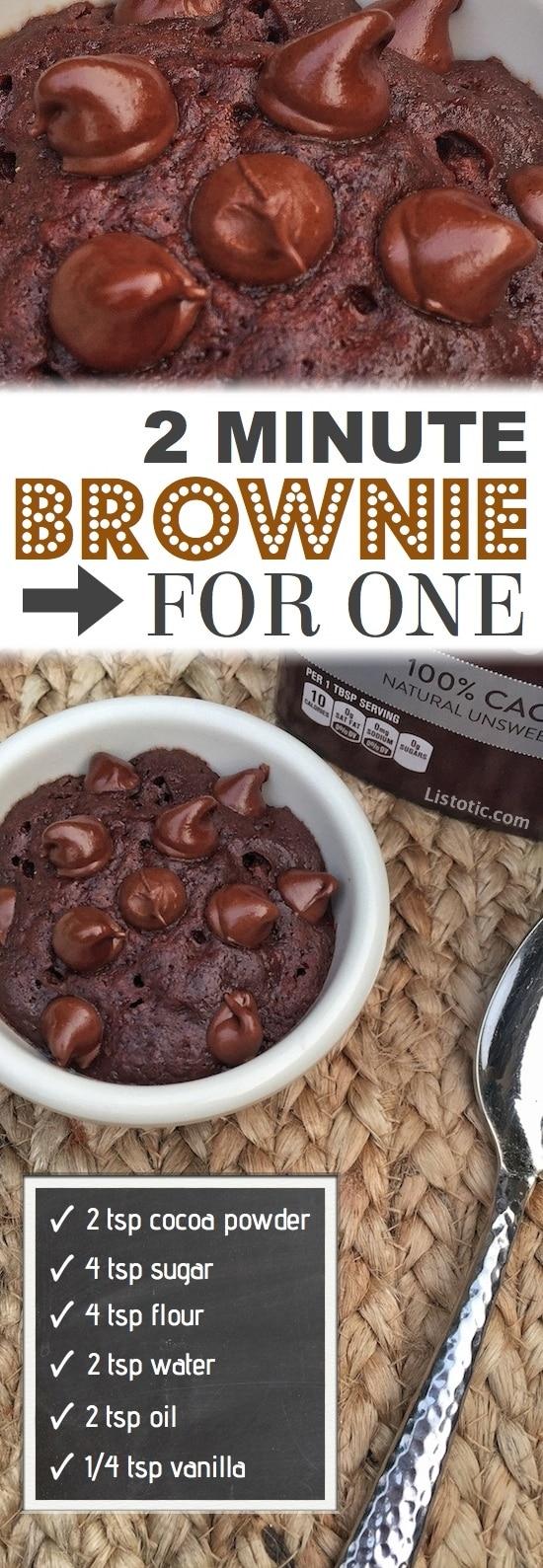 2 minute microwave brownie mug cake recipe