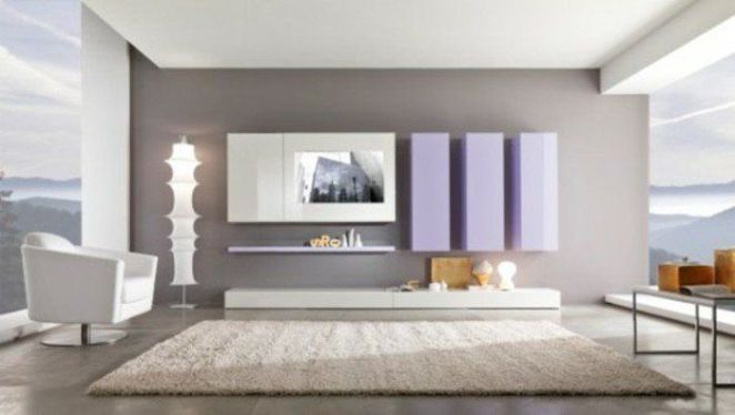 d co salon couleur de peinture pour salon en gris et blanc tapis beige meubles murales en v. Black Bedroom Furniture Sets. Home Design Ideas