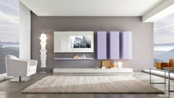 D co salon couleur de peinture pour salon en gris et blanc tapis beige meubles murales en v - Peinture salon tendance 2017 ...