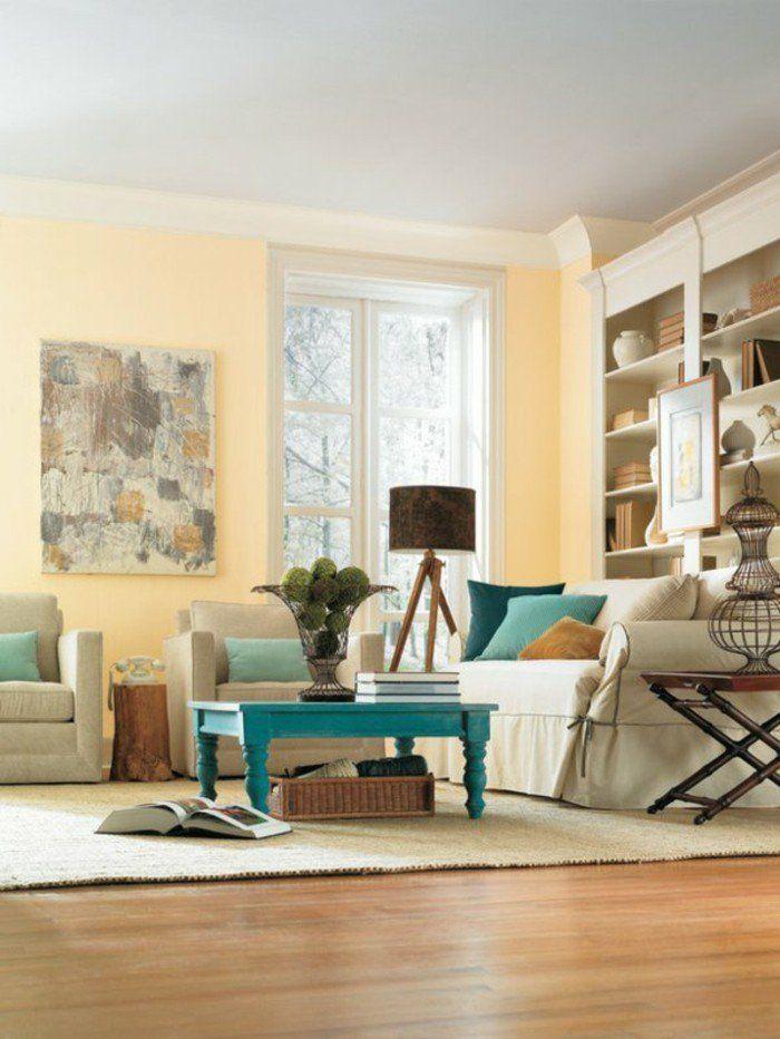 Déco Salon - couleur de peinture pour salon taupe meubles beiges ...